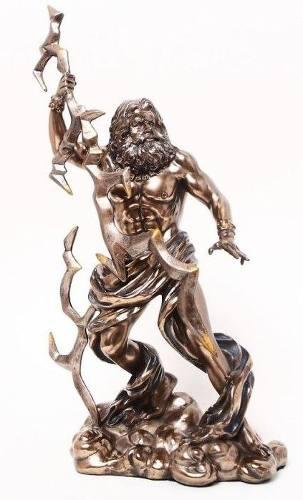 Dios Griego Zeus De 28cm Acabado En Bronce