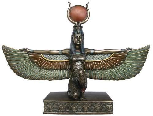Diosa Egipcia Isis Con Alas En Acabado Bronce De 32cm