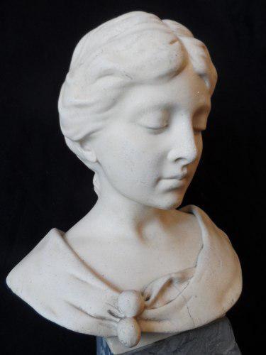Escultura Antigua 1904 Shumacher Figura De Mujer De Marmol