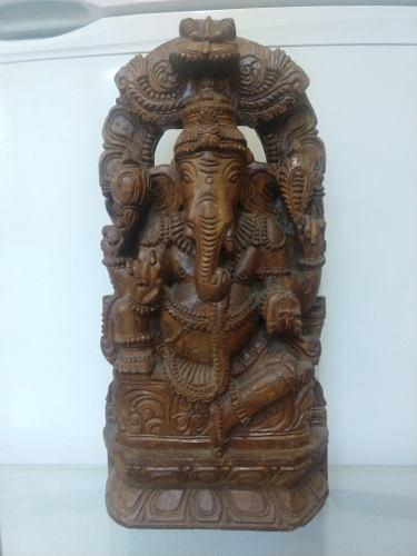 Escultura De Ganesh De Madera, Dios Hindu,