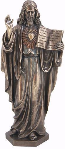 Escultura De Jesus Con El Sagrado Corazon En Acabado Bronce