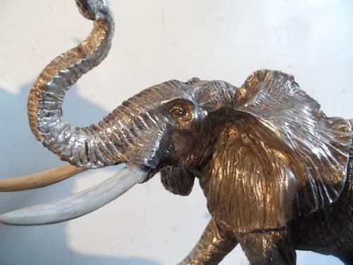 Escultura Elefante Plata 9.25 Electroformado Figura Italiana
