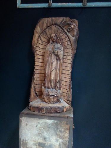 Escultura Talla En Mezquite Virgen De Guadalupe