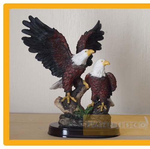 Figura Escultura Pareja Aguila Resina Arte Bar Animales