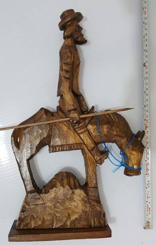 Quijote Escultura Figura Madera Tallada Artesanía Mexicana