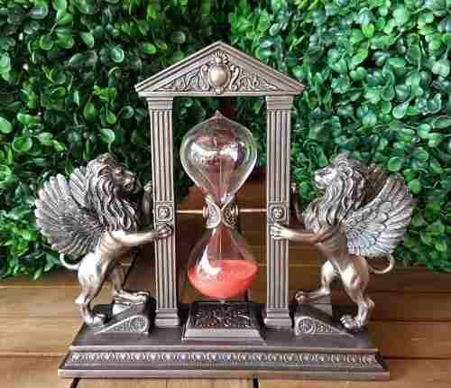 Reloj De Arena Con Leones Acabado En Bronce De 20cm 5 Mins.