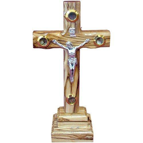 Zuluf 20cm Cruz De Madera De Olivo Católica Con