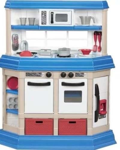 Cocina Cocinita Azul Con 22 Accesorios Luz Y Sonido