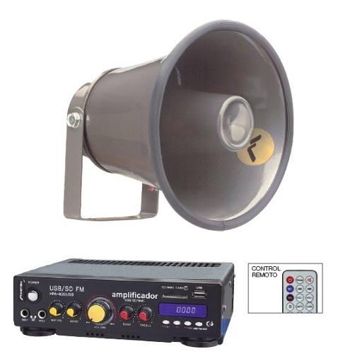 Kit Perifoneo Voceo Amplificador Y Trompeta De Aluminio