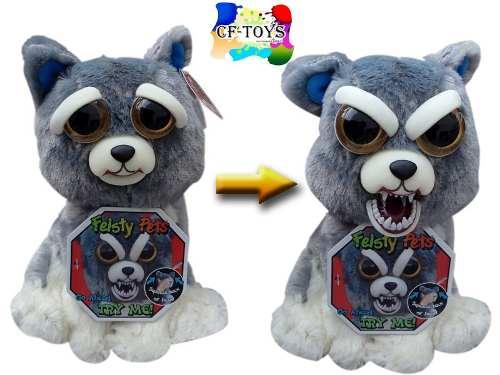 Peluche Mascota Perro Lobo Gris Feisty Pets Enojon Cf