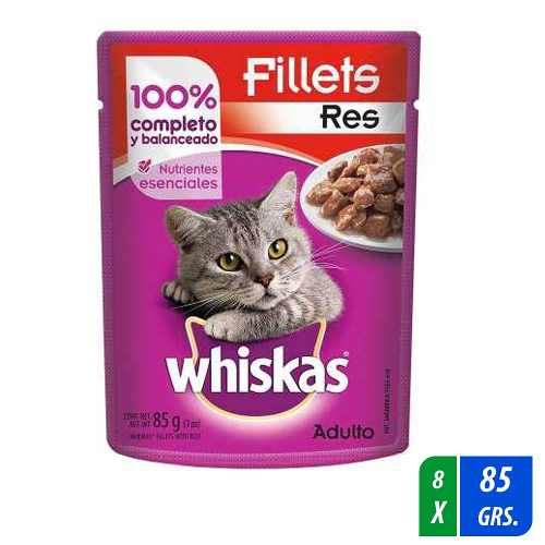 Alimento Para Gato Whiskas Fillets Res 8 Paq. 85 Gr C/u