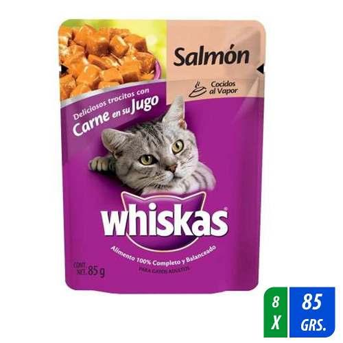 Alimento Para Gato Whiskas Fillets Salmón 8 Paq. 85 Gr C/u