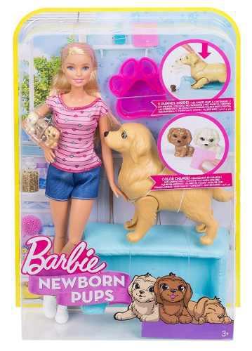 Barbie Muñeca Cachorritos Recién Nacidos Y Rubia