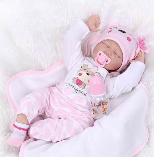 Bebe Reborn Muñeca Recién Nacida Ojos Cerrados 55 Cm