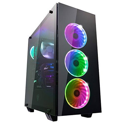 Fsp Atx Mid Tower Pc Computer Gaming Case With 3 Translucent