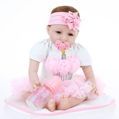 Renace Bebé Muñeca Girl Silicona Cuerpo Ojos Abierto Sonri