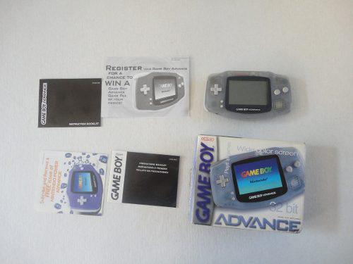 Gameboy Advance Glacier Azul Transparente Caja Y Manuales!!!