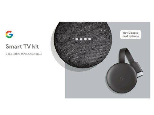 Smart Tv Kit Google Home Mini + Chromecast 3 Color Gris