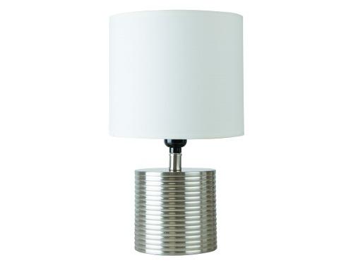 Lámpara De Mesa 1 Luz E27 Metal Niquel Satinado Tela Blanca