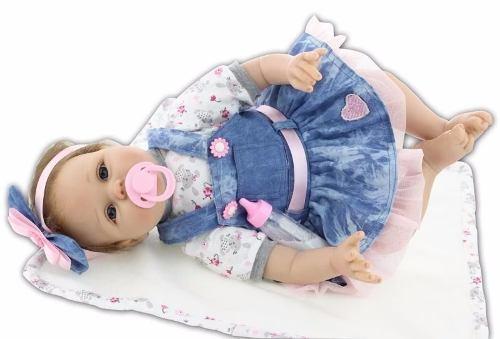 Bebe Reborn Muñeca Recién Nacida Silicona 55 Cm