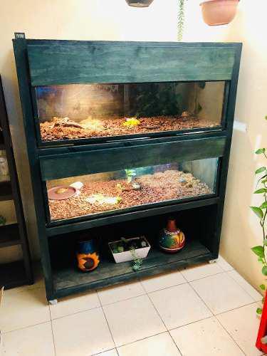 Terrario Para Mascotas Reptiles Tortugas 3 Niveles Con Lanta