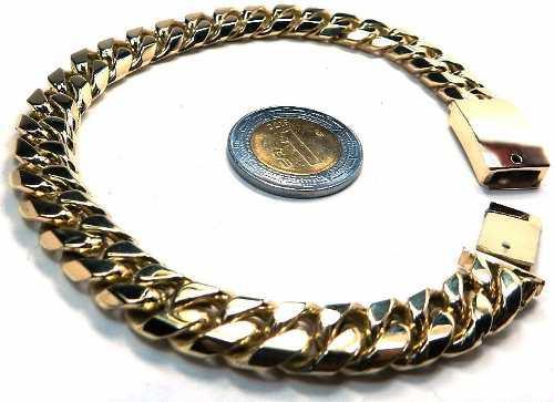 Gruesa Esclava Barbada Cubana Oro Macizo 10k 60gr Solid Gold