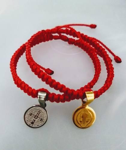 Jgo. De 2 Pulseras Rojas Con Medalla De San Benito En Acero