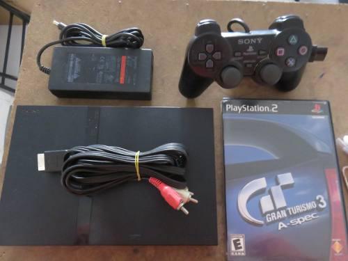 Playstation 2 Con Un Control Y Un Juego Gran Turismo 3