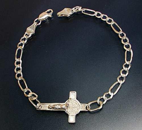 Pulsera Cruz De San Benito Crucifijo En Plata Ley.925 21cm
