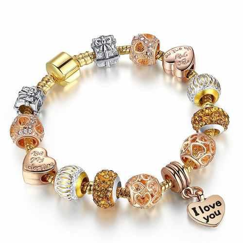 Pulsera Estilo Pandora Con 13 Charms Plata 925 I Love You