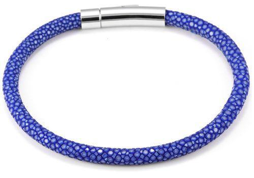 Pulsera Krasha Elegante De Piel Azul Y Acero Para Hombre