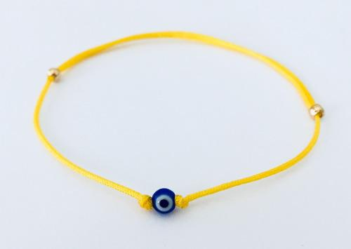 Pulsera Ojo Turco Azul De 4mm En Hilo Amarillo