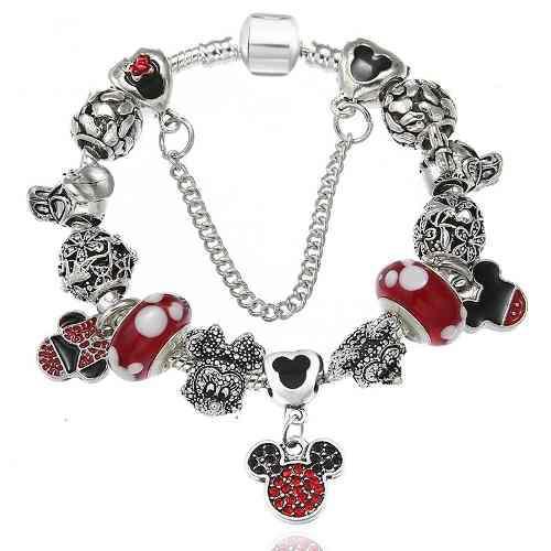 Pulsera Tipo Pandora Mickey Mouse, Mimi, Daisy Patodonald