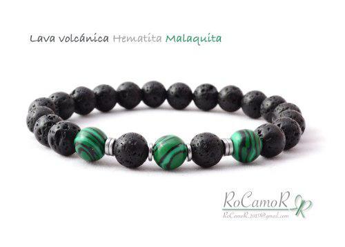Pulsera #rocamor Para Hombre Lava Volcánica Y Malaquita