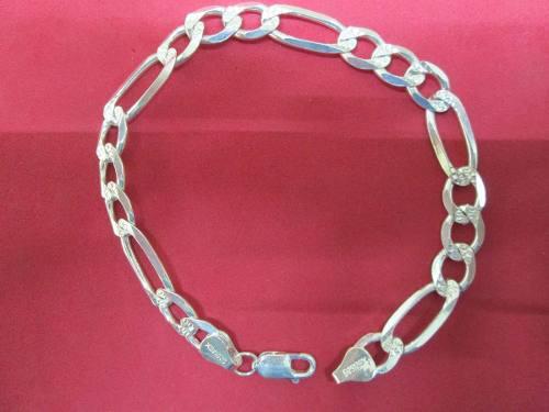 Pulso Esclava Fígaro Diamantada En Plata Fina 925 6 Mm.