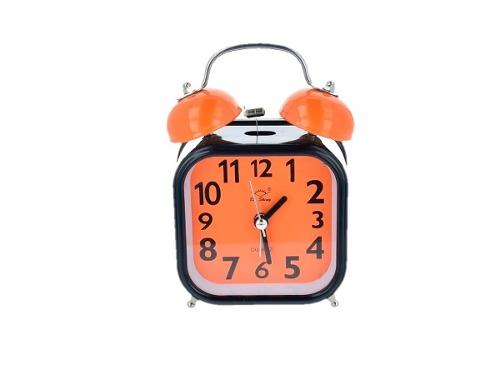 Reloj Despertador Campana Negro Con Naranja Retro Vintage
