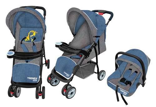 Carriola Para Bebe 3 En 1 Mod Maxi Azul Trendykids