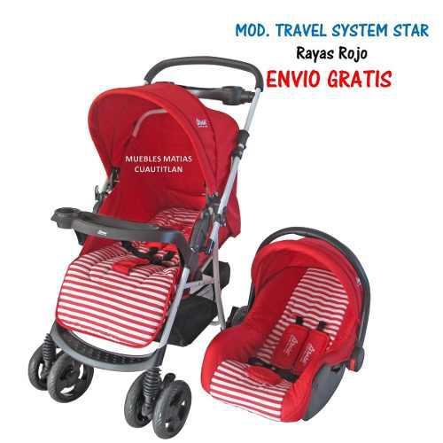 Carriola Porta Bebe Travel System Star Rojo Reversible