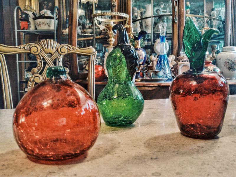 lote de 3 frutas fabricadas en cristal craquelado
