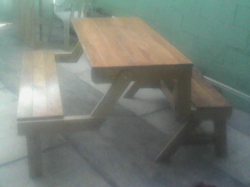 mesa banca madera 6 personas