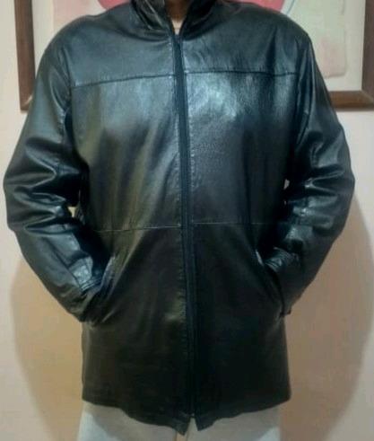 Chamarra de vestir con capucha 100% PIEL DE CABRA talla XL