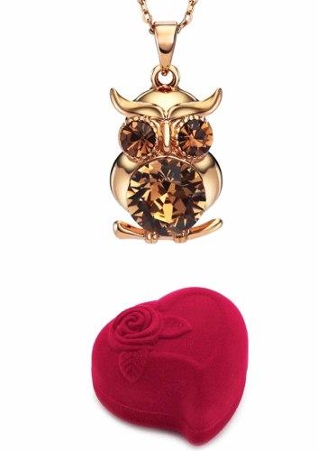 Collar De Buho Swarovski + Estuche Corazón Premium