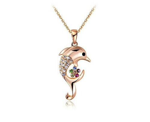 Collar Delfin Oro Rosa Swarovski C/envoltura Gratis P/regalo