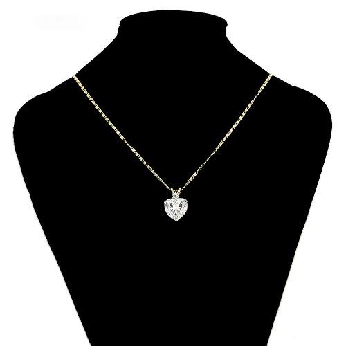 Precioso Collar Corazón Swarovski Oro 14k Lam + Estuche