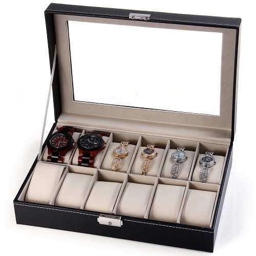 Caja Organizadora /joyas/relojes 12 Compartimentos Polipiel