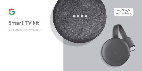 Chromecast  + Home Mini Negro Smart Tv Kit Nuevo
