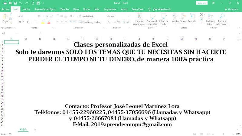Clases personalizadas de Excel en tu domicilio o trabajo