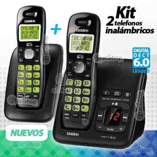 2 Teléfonos Inalámbricos Contestadora Id Agenda Kit Casa