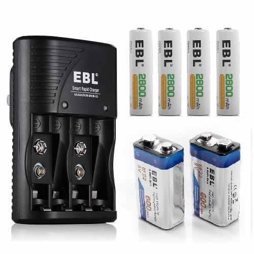 Kit 4 Baterias Aa, 2 Baterias 9v Recargables Mas Cargador