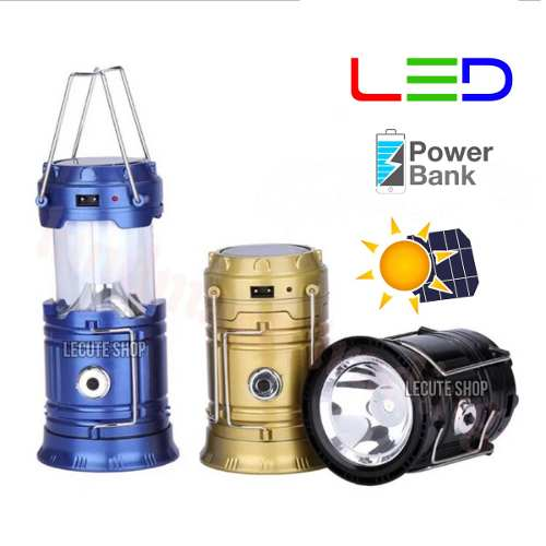 Lampara Camping Led Solar Usb Recargable Powerbank Lantern